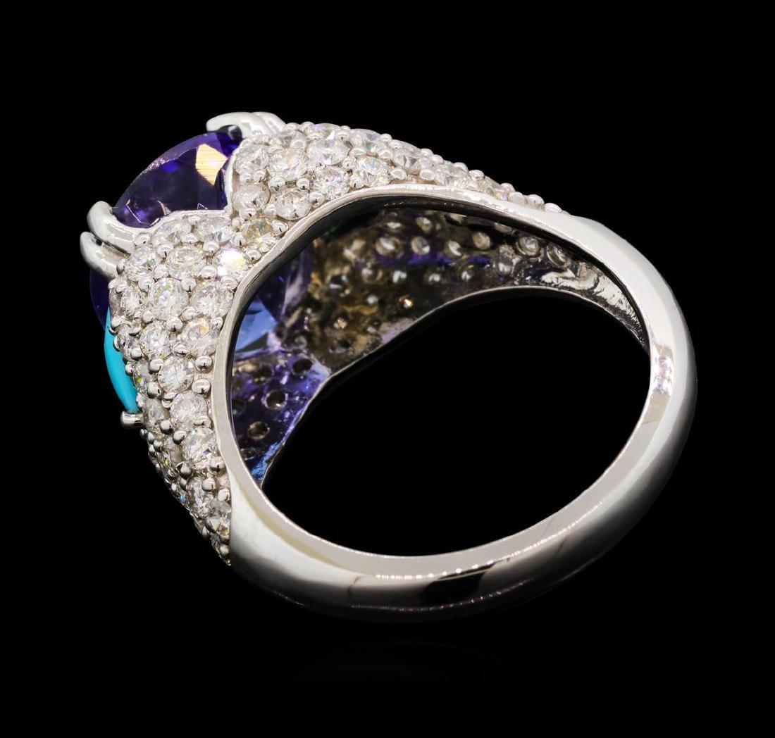 5.47 ctw Tanzanite, Turquoise and Diamond Ring - 14KT - 3