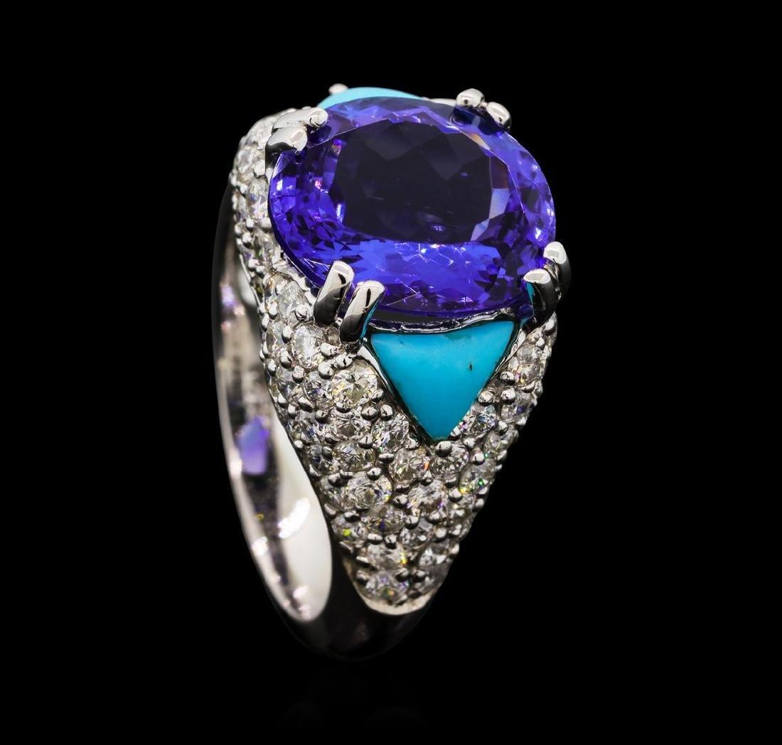 5.47 ctw Tanzanite, Turquoise and Diamond Ring - 14KT - 4