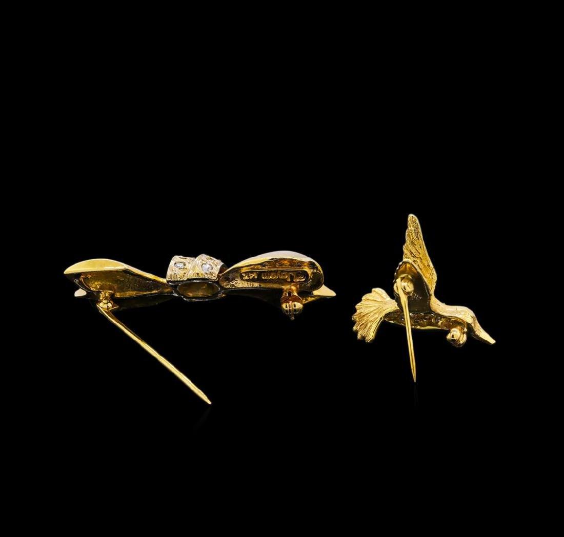 14KT Yellow Gold Hummingbird and Ribbon Pins - 2