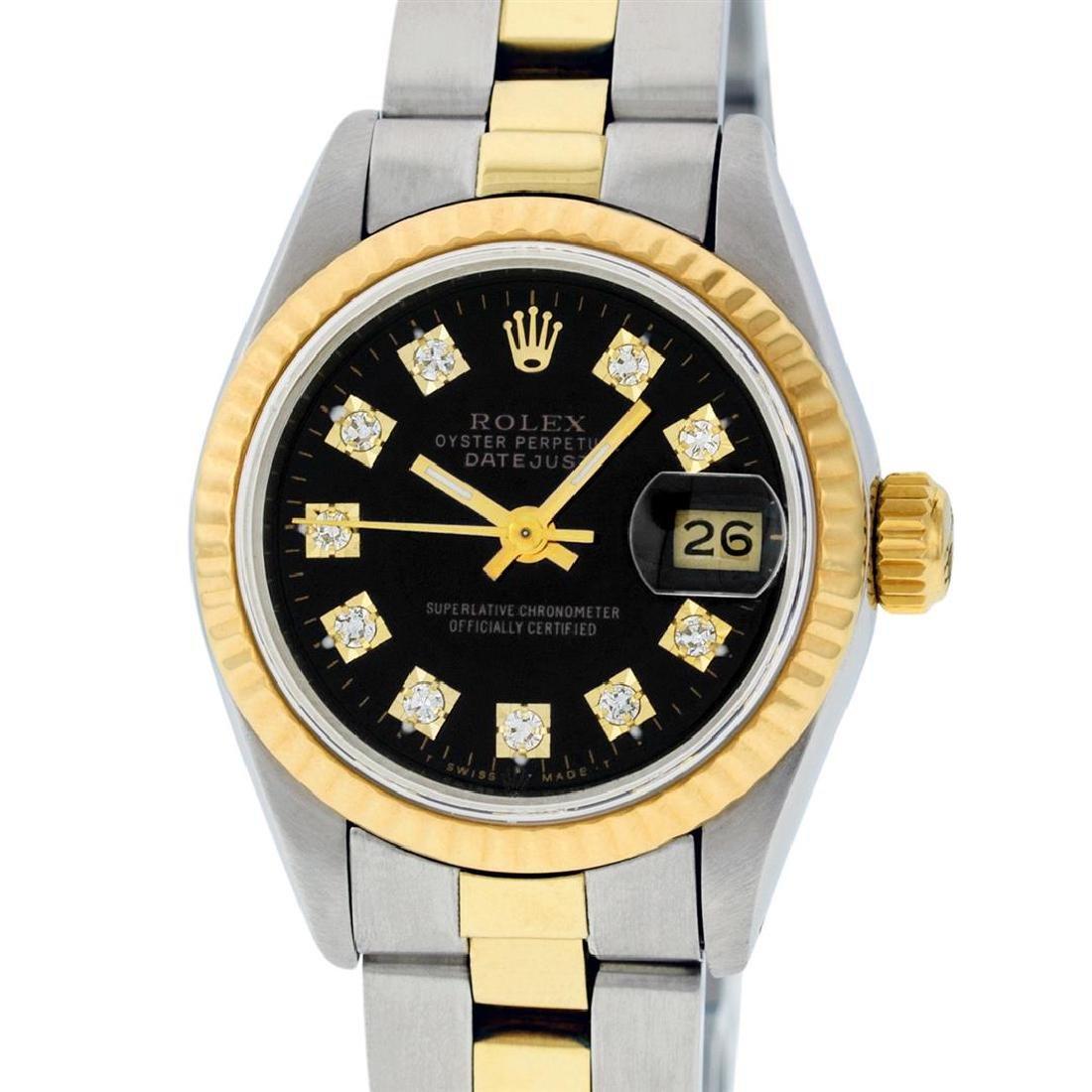 Rolex Ladies 2 Tone 14K Black Diamond 26MM Datejust