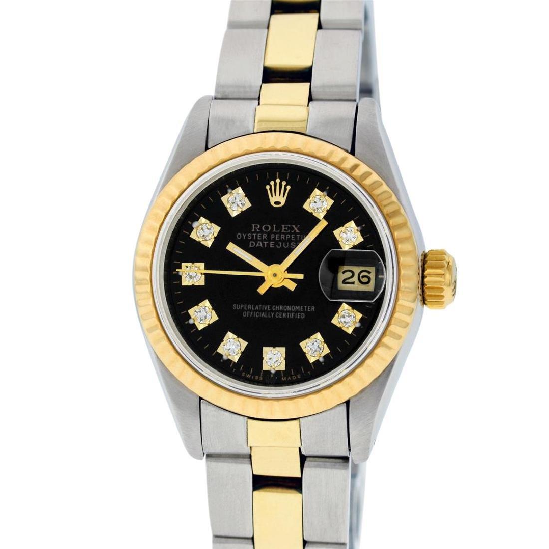 Rolex Ladies 2 Tone 14K Black Diamond 26MM Datejust - 2