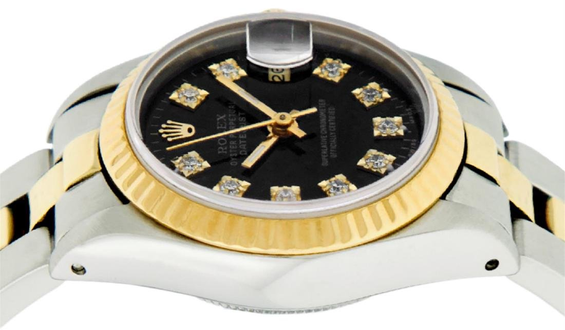 Rolex Ladies 2 Tone 14K Black Diamond 26MM Datejust - 3