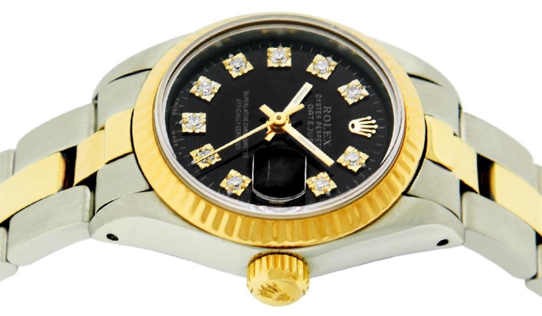 Rolex Ladies 2 Tone 14K Black Diamond 26MM Datejust - 4