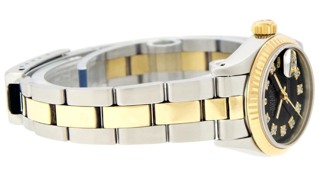 Rolex Ladies 2 Tone 14K Black Diamond 26MM Datejust - 5