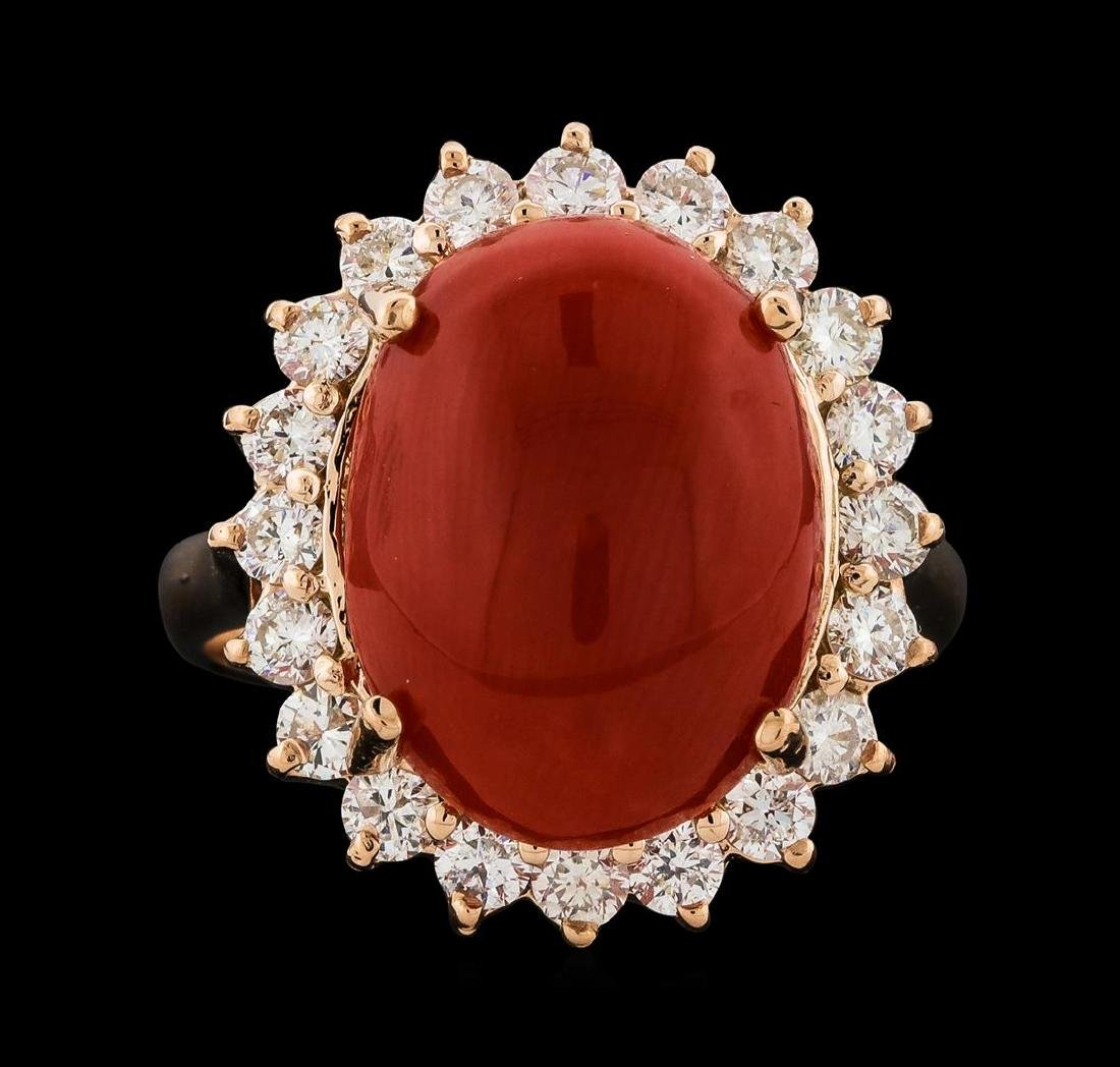 6.30 ctw Coral and Diamond Ring - 14KT Rose Gold - 2