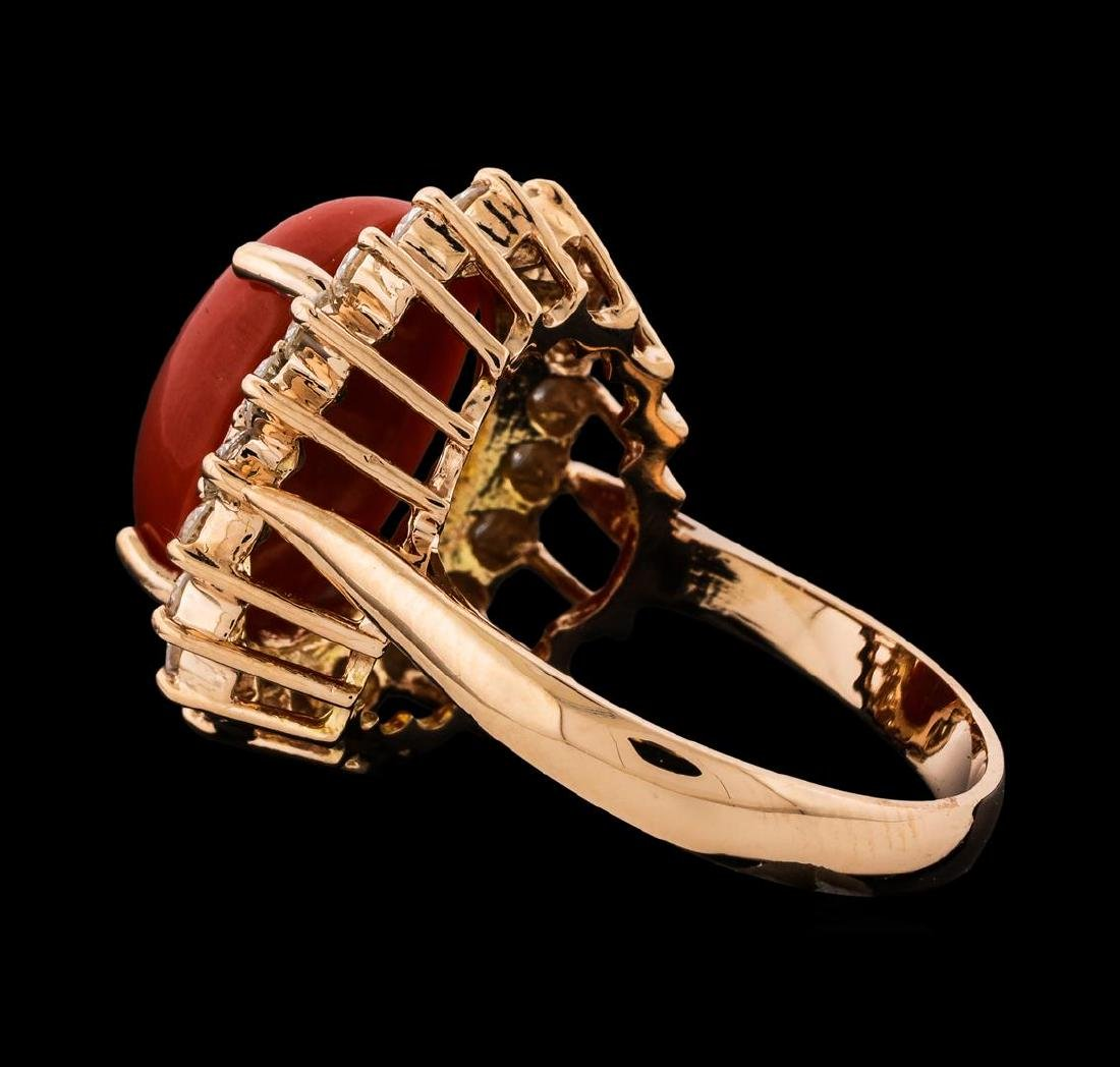 6.30 ctw Coral and Diamond Ring - 14KT Rose Gold - 3