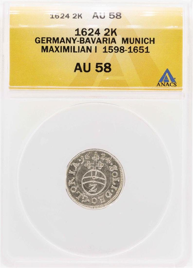 1624 Germany-Bavaria Munich Maximilian I 2 Kreuzer Coin