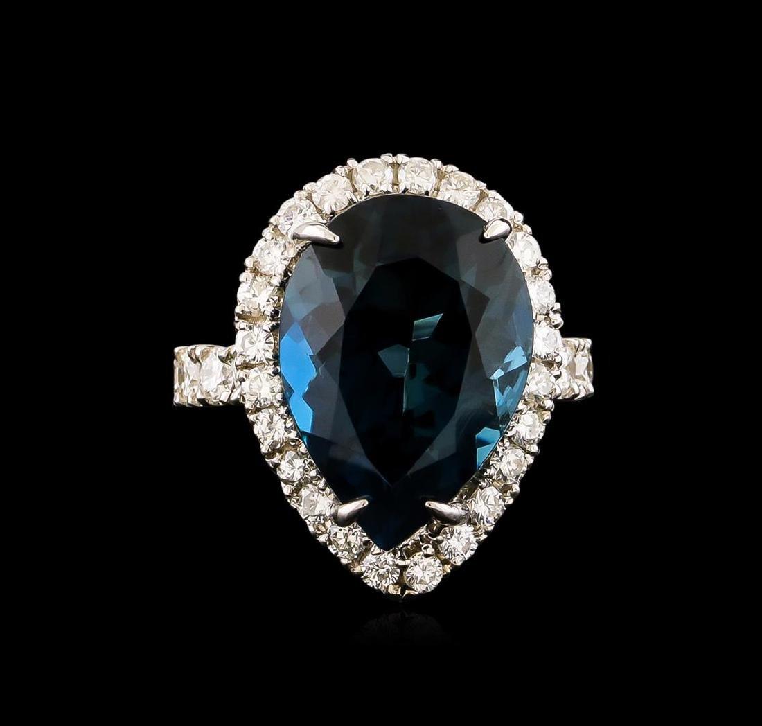 14KT White Gold 15.46 ctw Topaz and Diamond Ring - 2