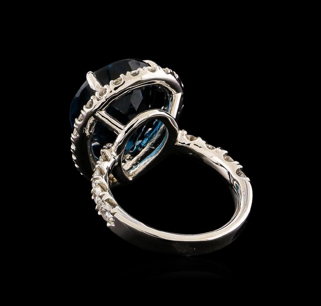 14KT White Gold 15.46 ctw Topaz and Diamond Ring - 3