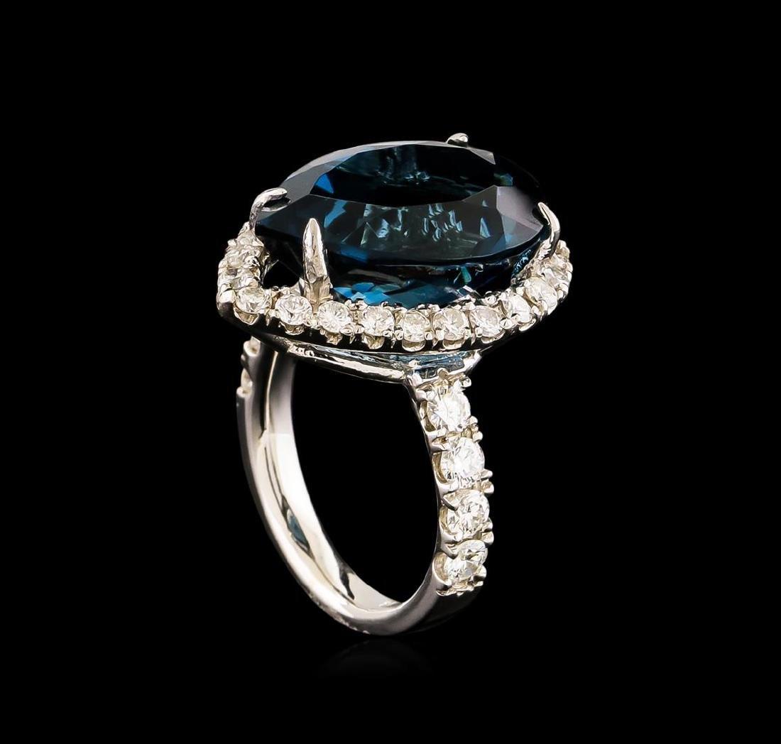 14KT White Gold 15.46 ctw Topaz and Diamond Ring - 4