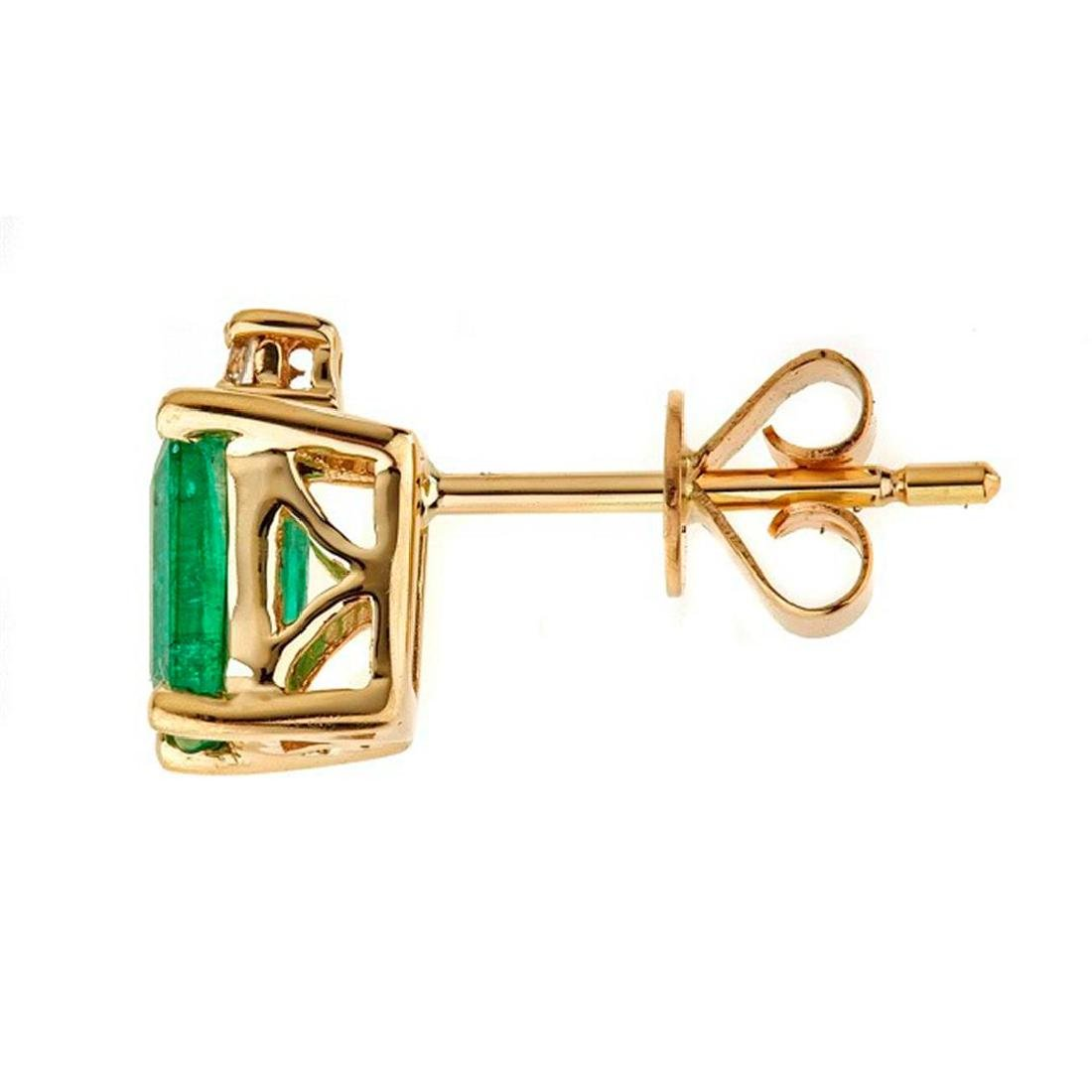 1.13 ctw Emerald and Diamond Earrings - 14KT Yellow - 2