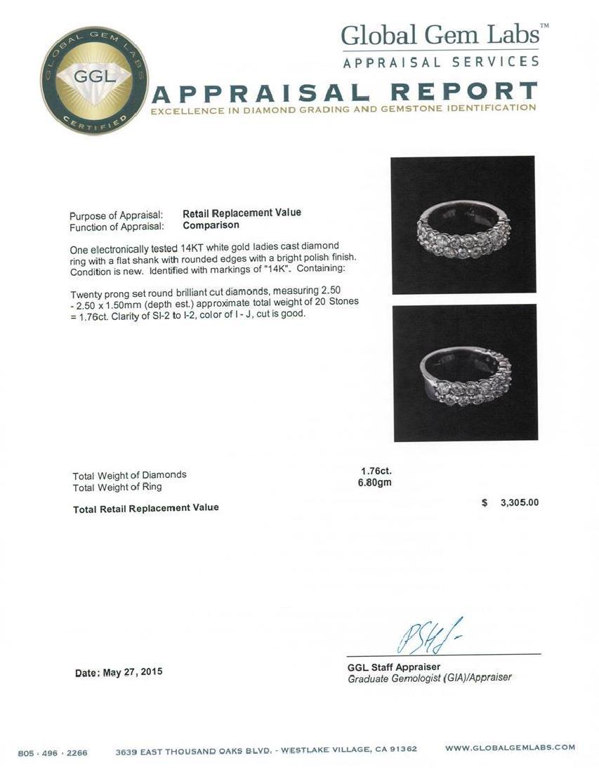 14KT White Gold 1.76 ctw Diamond Ring - 5