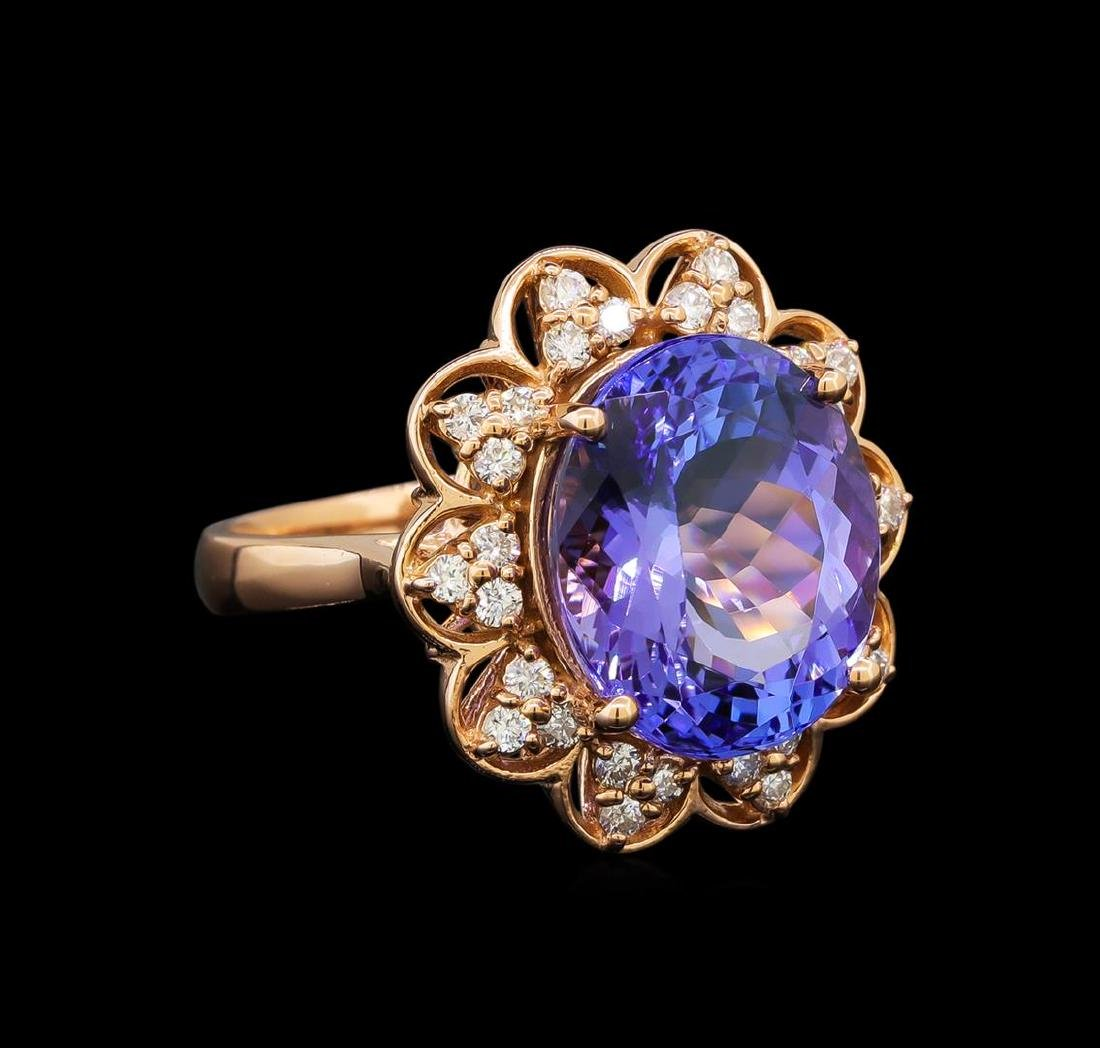 14KT Rose Gold 8.58 ctw Tanzanite and Diamond Ring