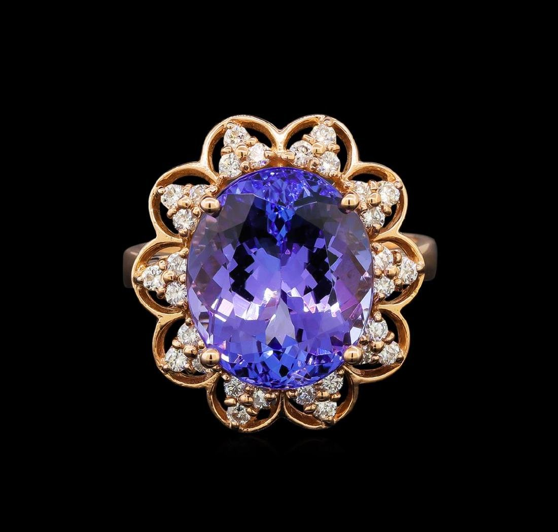 14KT Rose Gold 8.58 ctw Tanzanite and Diamond Ring - 2