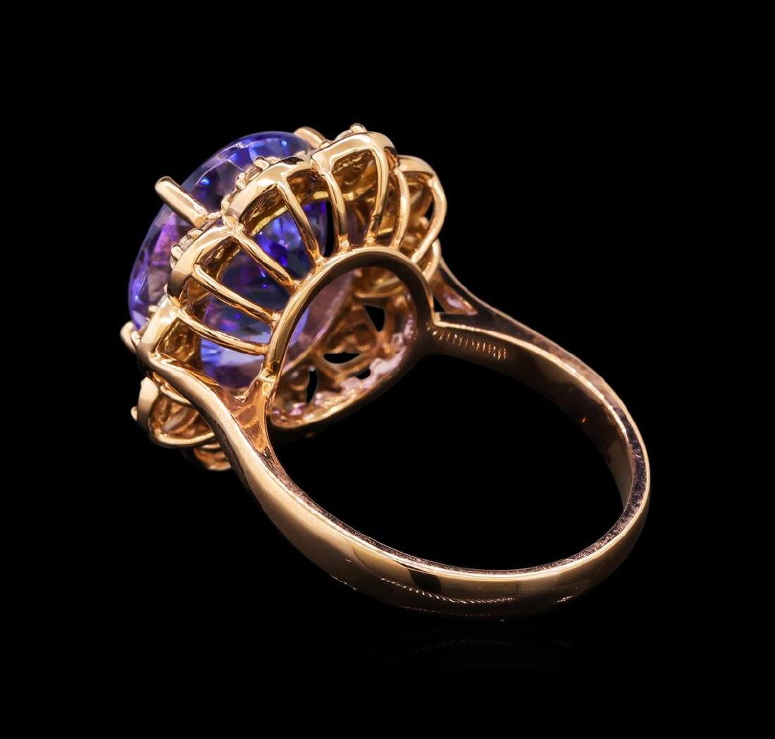 14KT Rose Gold 8.58 ctw Tanzanite and Diamond Ring - 3