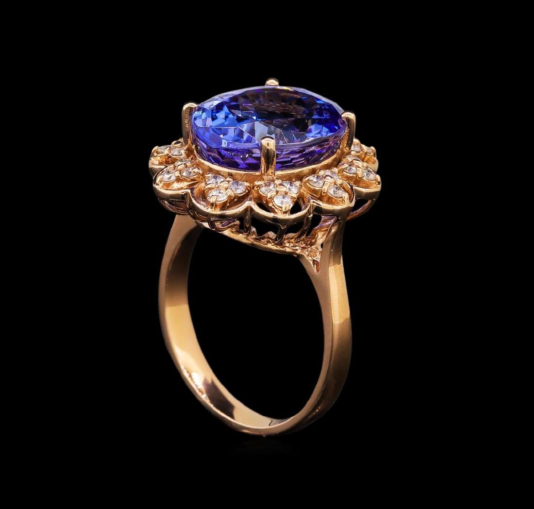 14KT Rose Gold 8.58 ctw Tanzanite and Diamond Ring - 4