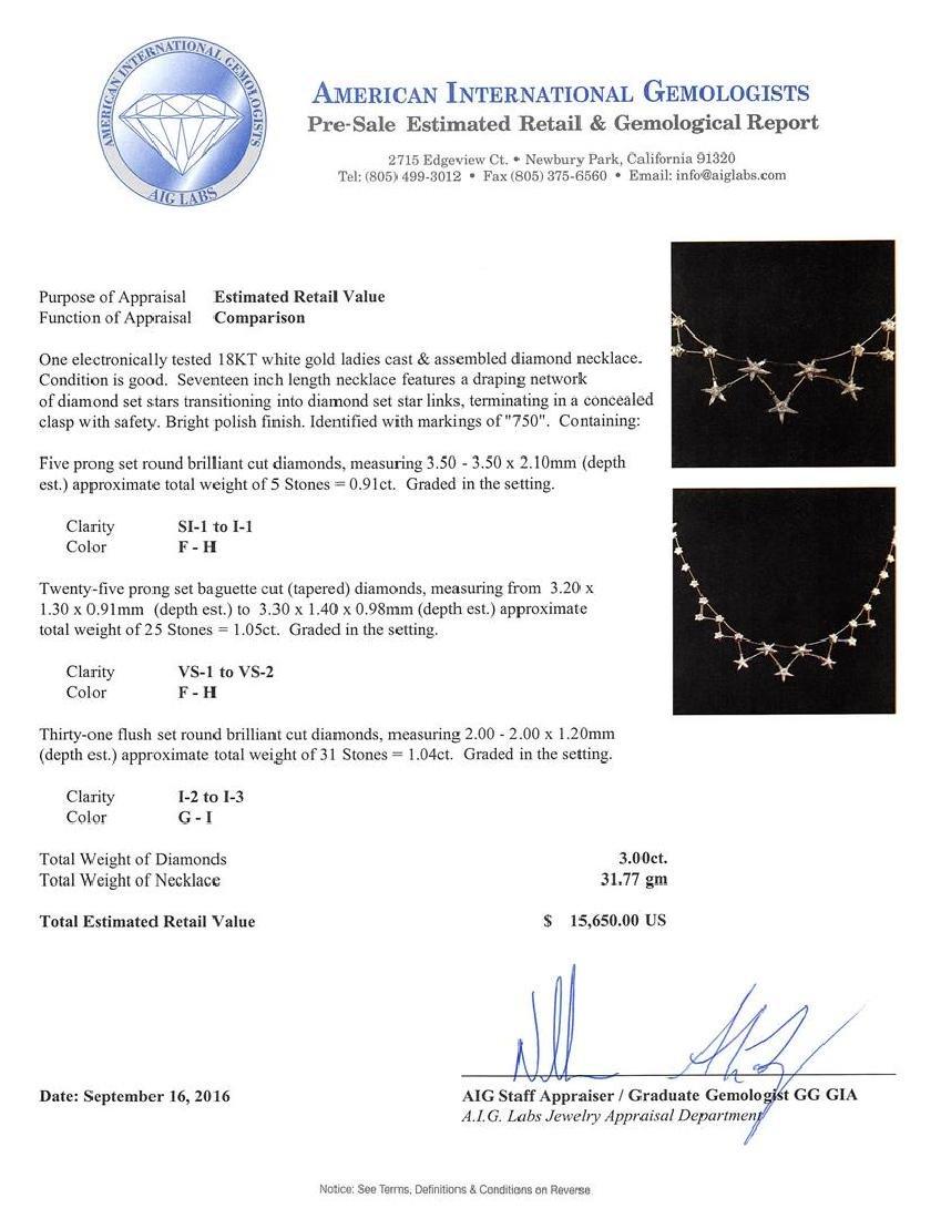 3.00 ctw Diamond Necklace - 18KT White Gold - 3
