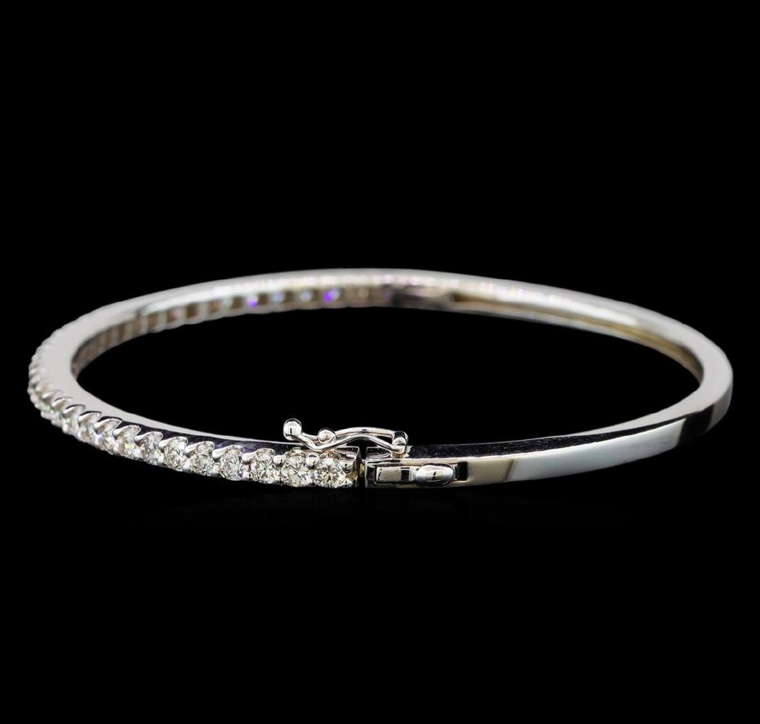 14KT White Gold 2.06 ctw Diamond Bangle Bracelet - 2