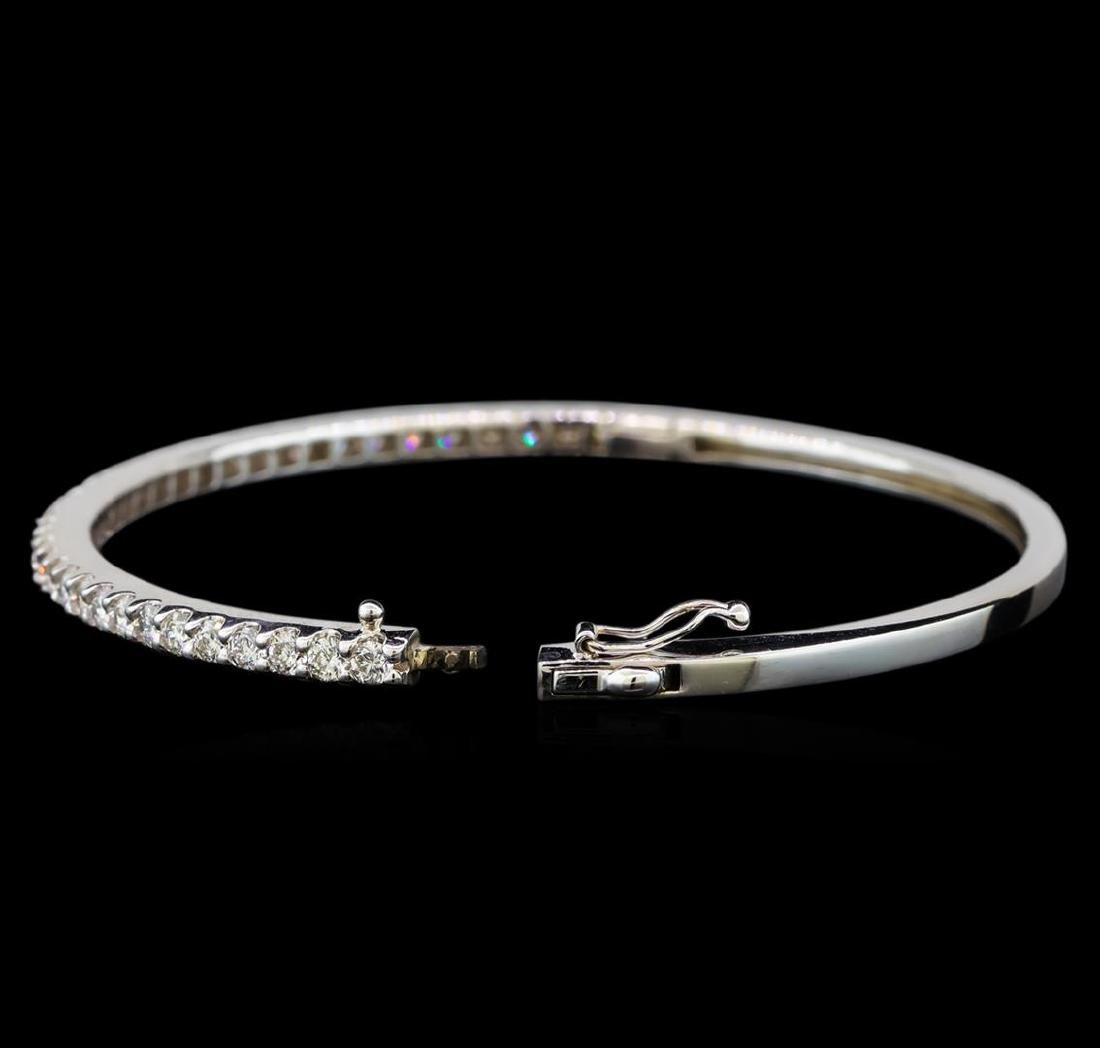14KT White Gold 2.06 ctw Diamond Bangle Bracelet - 3