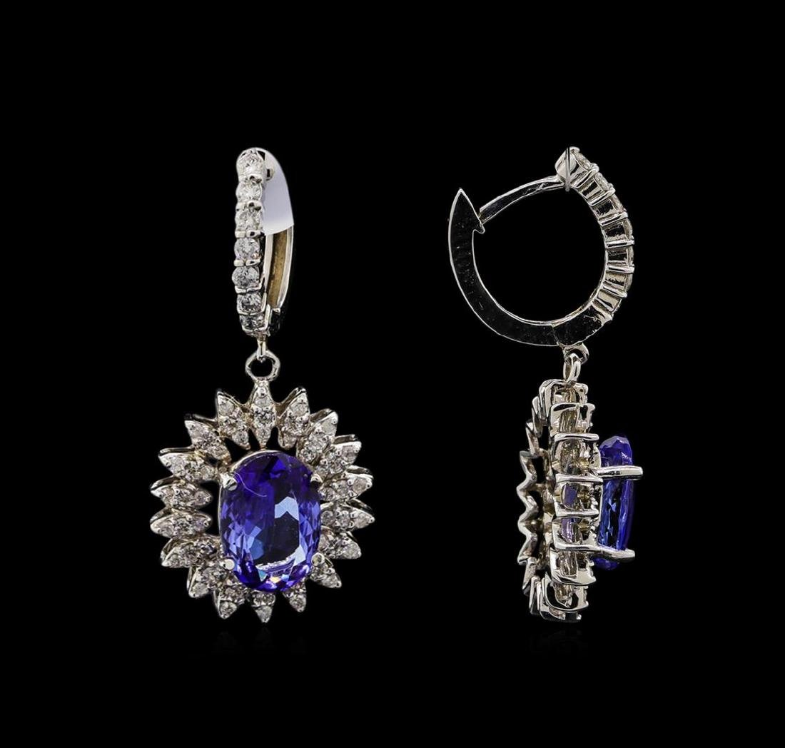 14KT White Gold 4.08 ctw Tanzanite and Diamond Earrings - 2