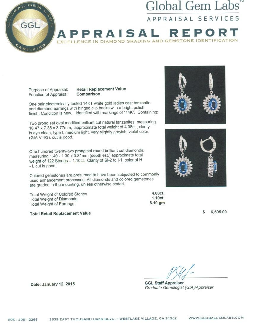 14KT White Gold 4.08 ctw Tanzanite and Diamond Earrings - 3