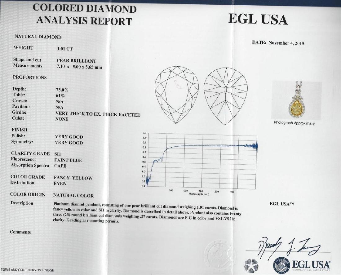 EGL USA Cert 1.28 ctw VS1 Fancy Yellow Diamond Pendant - 3