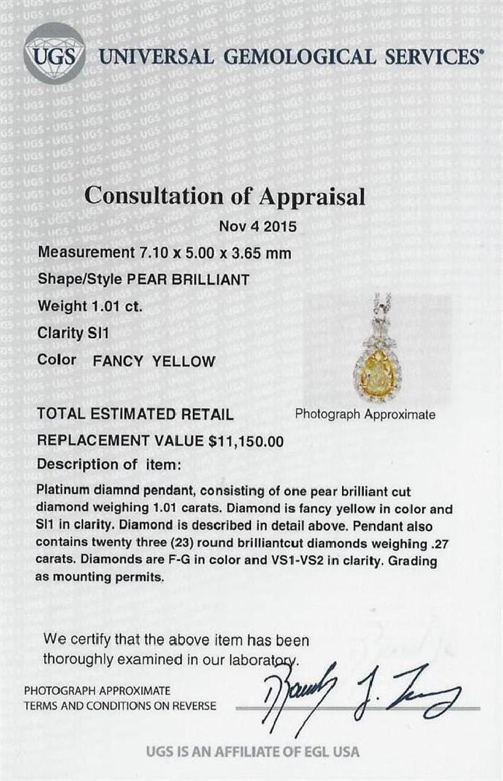 EGL USA Cert 1.28 ctw VS1 Fancy Yellow Diamond Pendant - 5