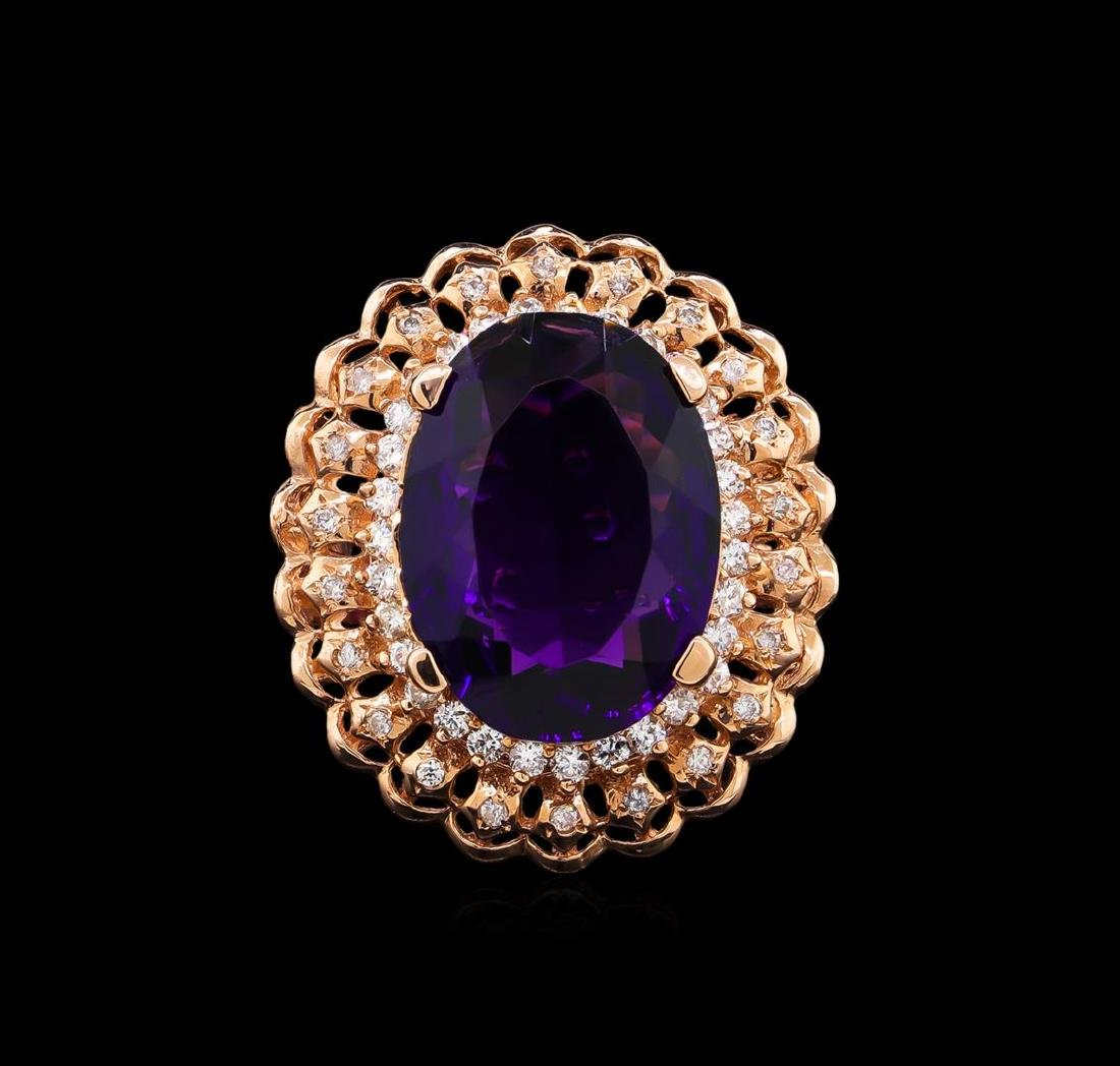 14KT Rose Gold 9.45 ctw Amethyst and Diamond Ring - 2