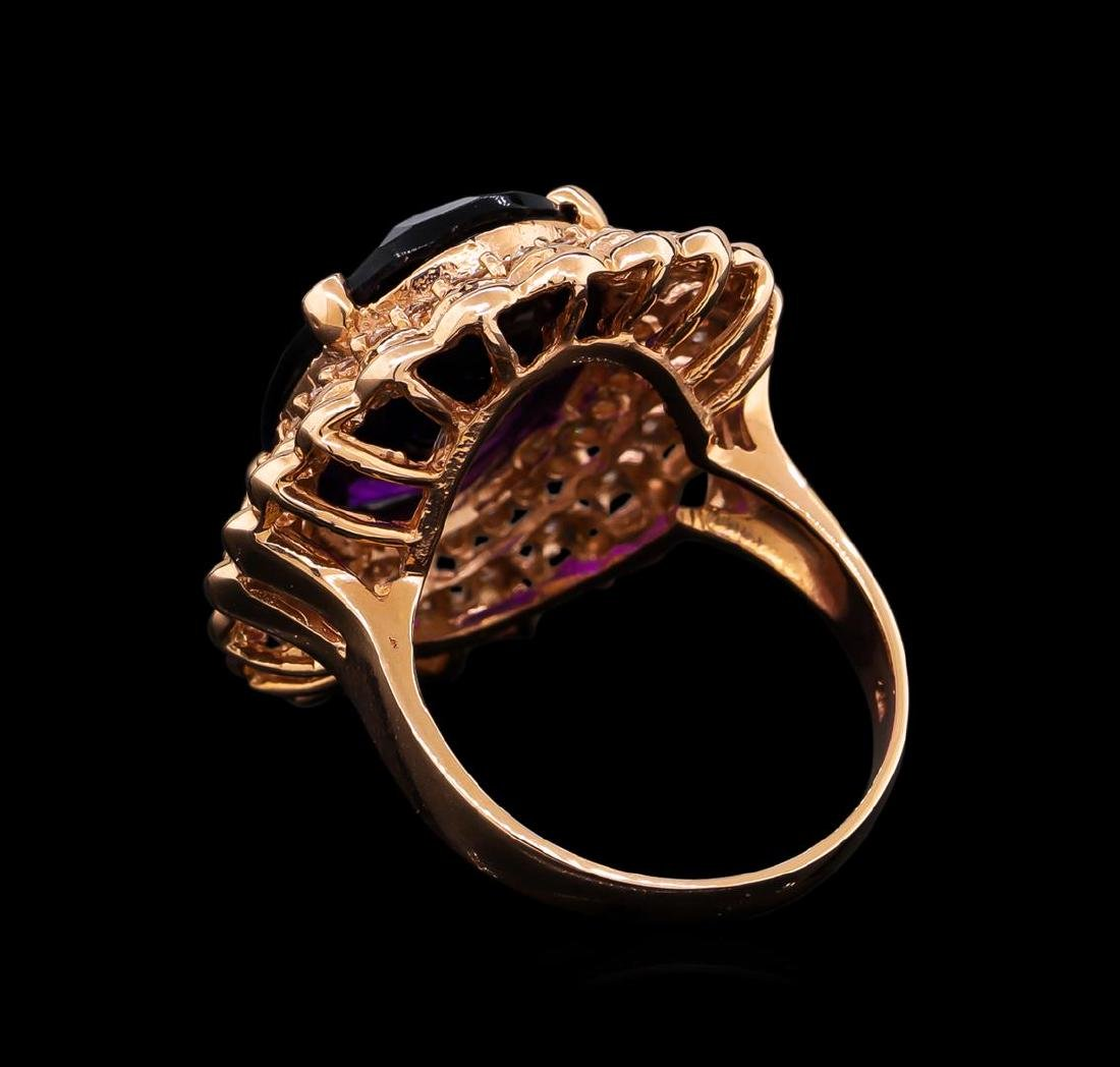 14KT Rose Gold 9.45 ctw Amethyst and Diamond Ring - 3