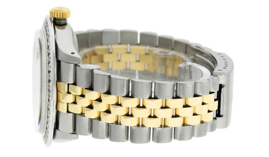 Rolex Mens 2 Tone 14K MOP Roman 3 ctw Channel Set - 6