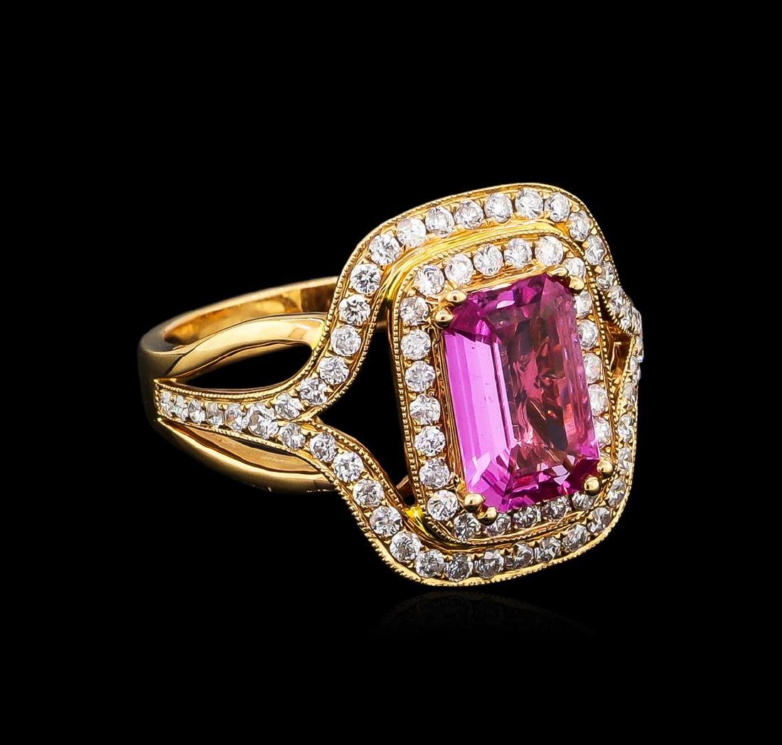 1.86 ctw Pink Sapphire and Diamond Ring - 18KT Rose