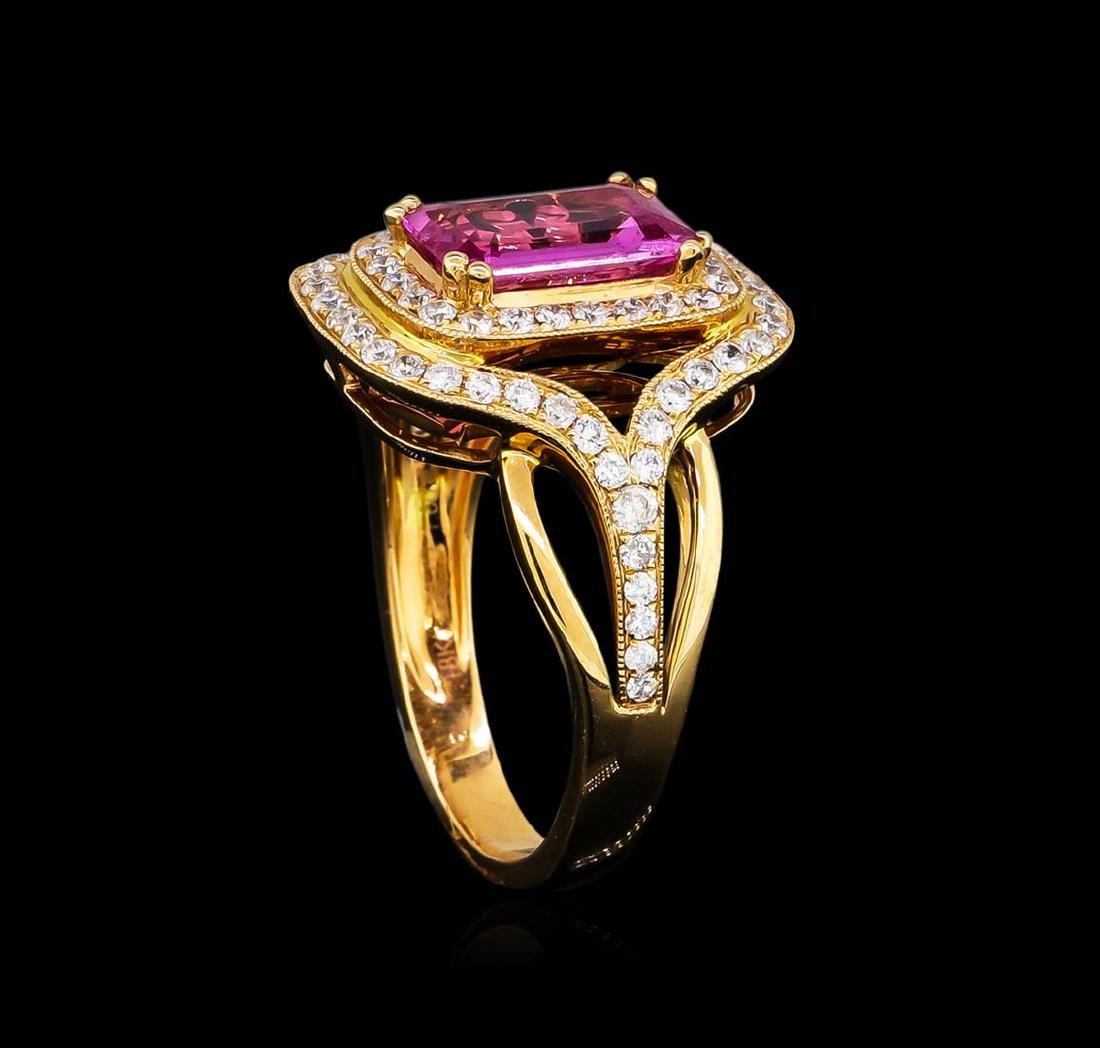 1.86 ctw Pink Sapphire and Diamond Ring - 18KT Rose - 4