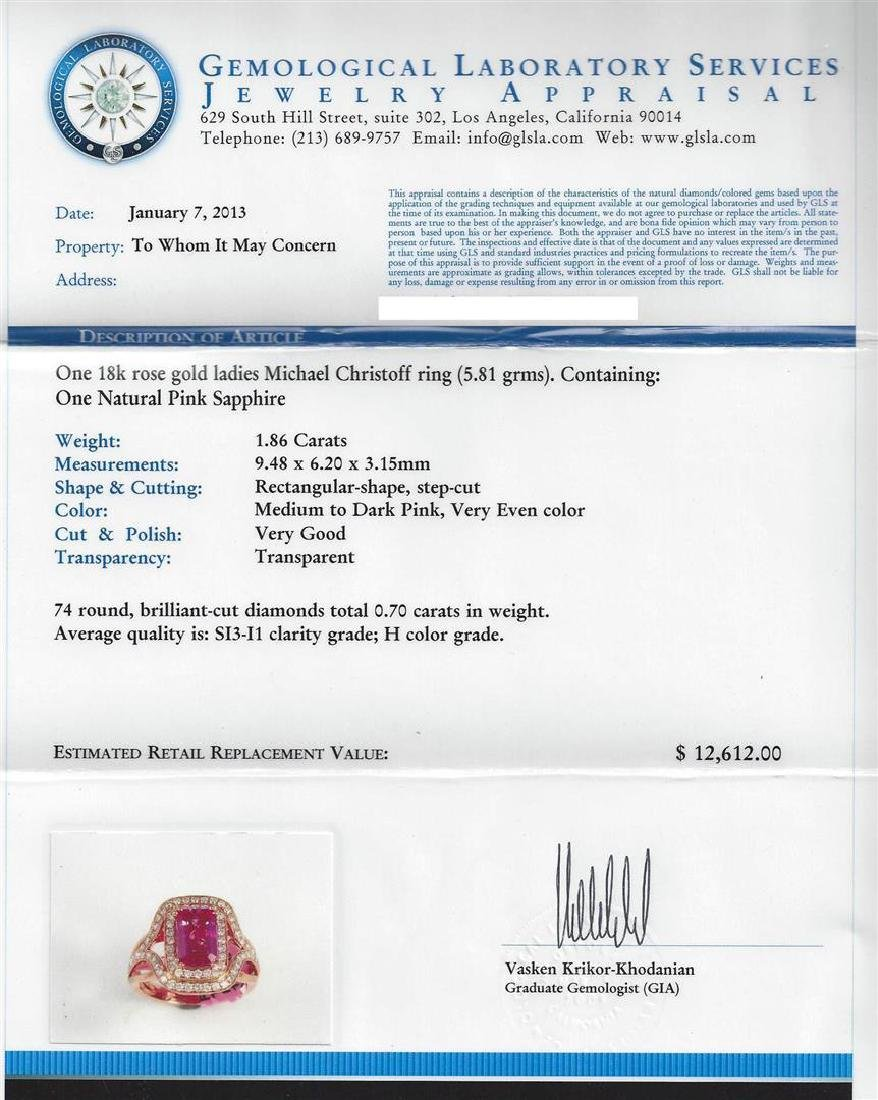 1.86 ctw Pink Sapphire and Diamond Ring - 18KT Rose - 5
