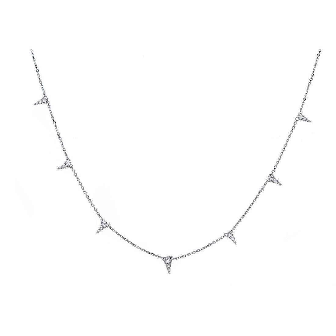 0.31 ctw Diamond Necklace - 18KT White Gold - 2