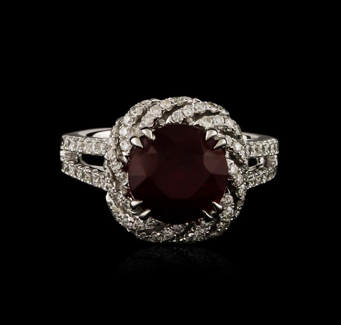 14KT White Gold 4.05 ctw Ruby and Diamond Ring - 2