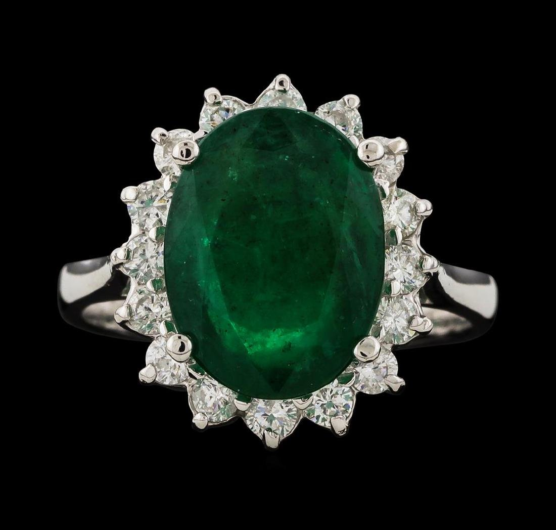 4.60 ctw Emerald and Diamond Ring - 14KT White Gold - 2