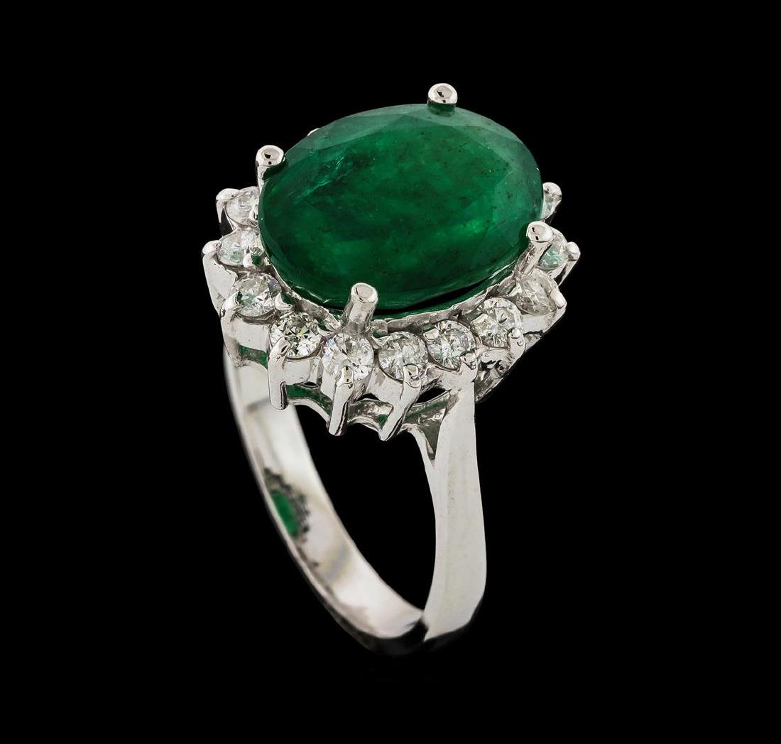 4.60 ctw Emerald and Diamond Ring - 14KT White Gold - 4