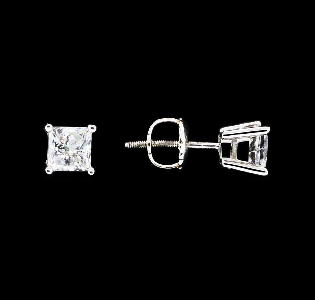 0.80 ctw Diamond Earrings - 14KT White Gold - 2