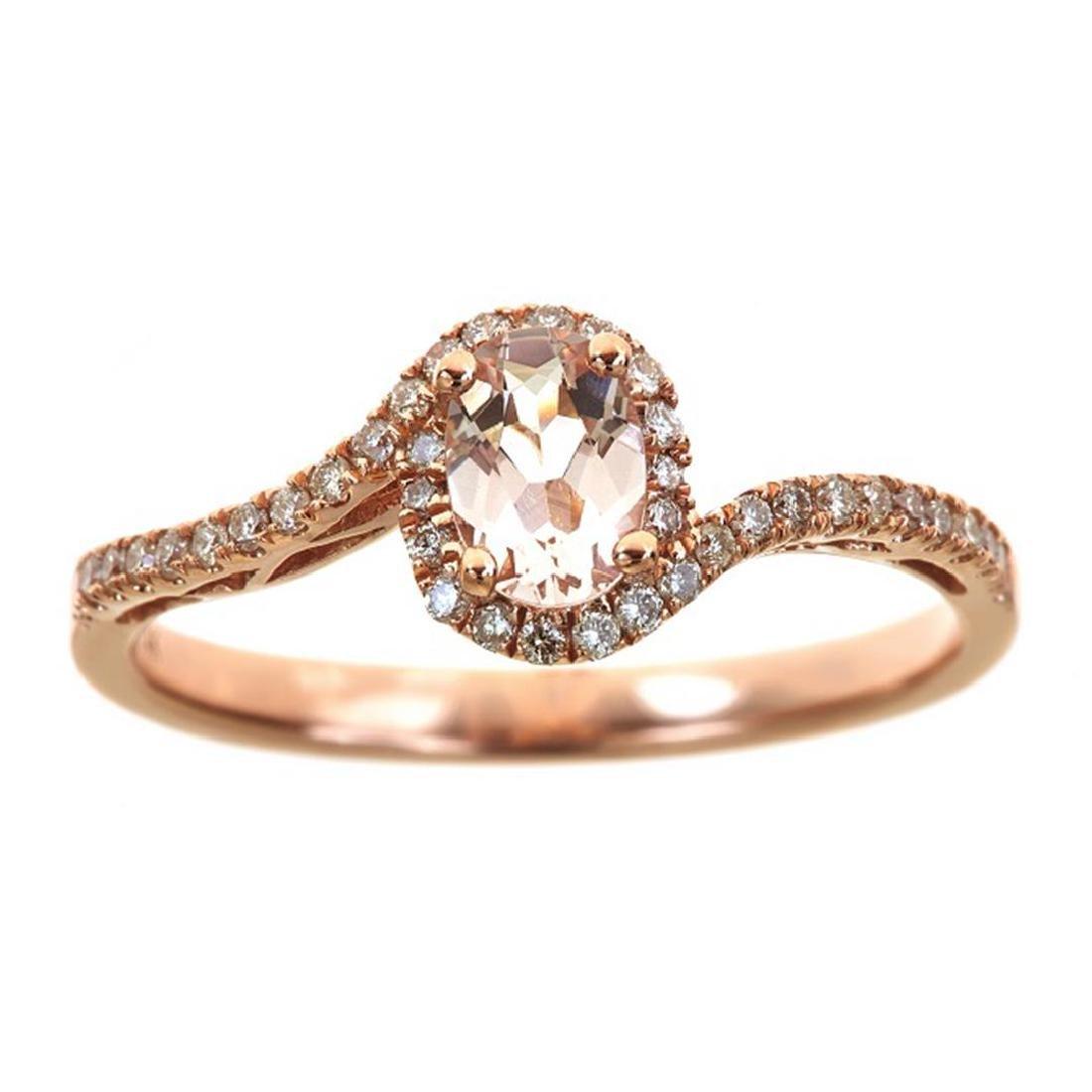 0.48 ctw Morganite and Diamond Ring - 14KT Rose Gold