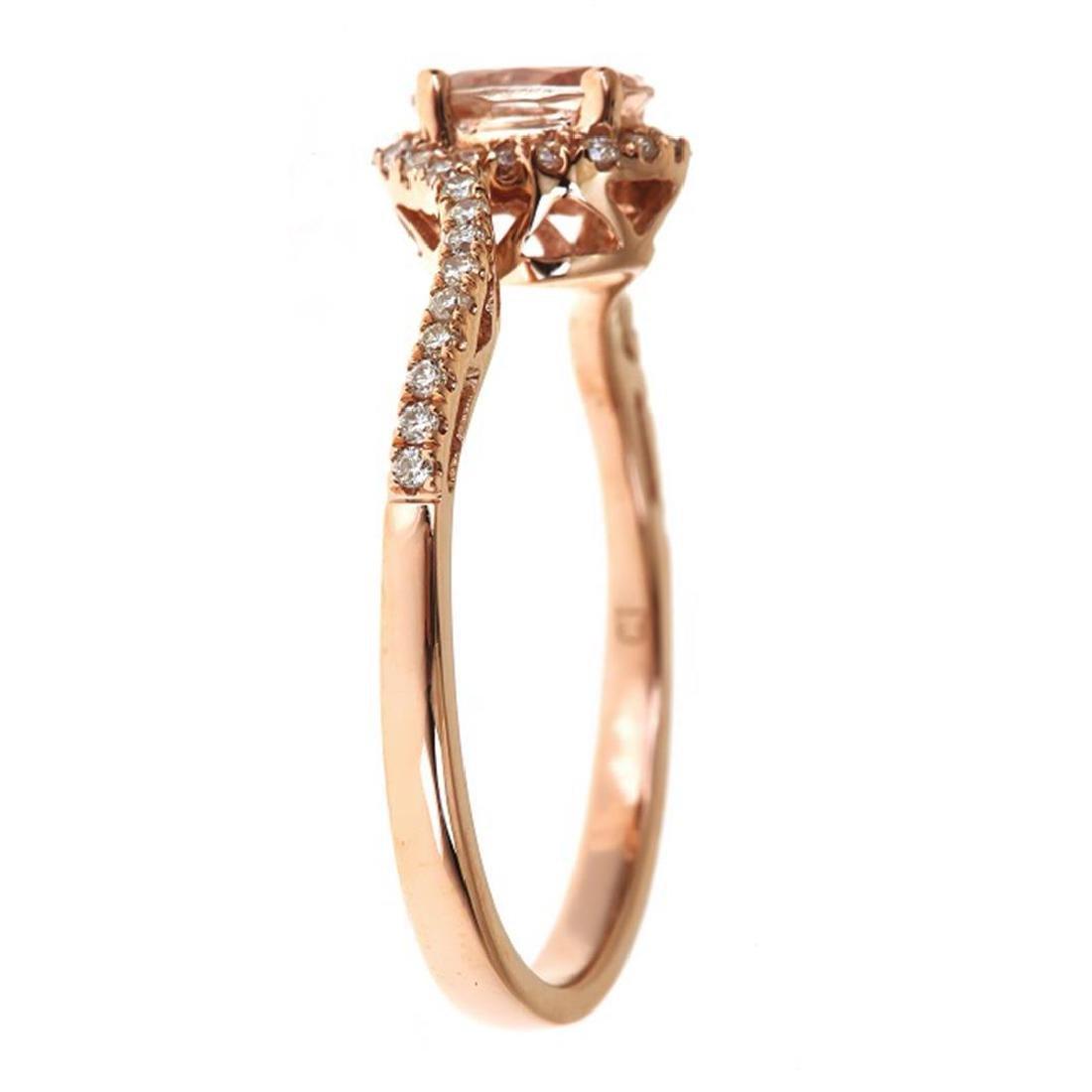 0.48 ctw Morganite and Diamond Ring - 14KT Rose Gold - 2