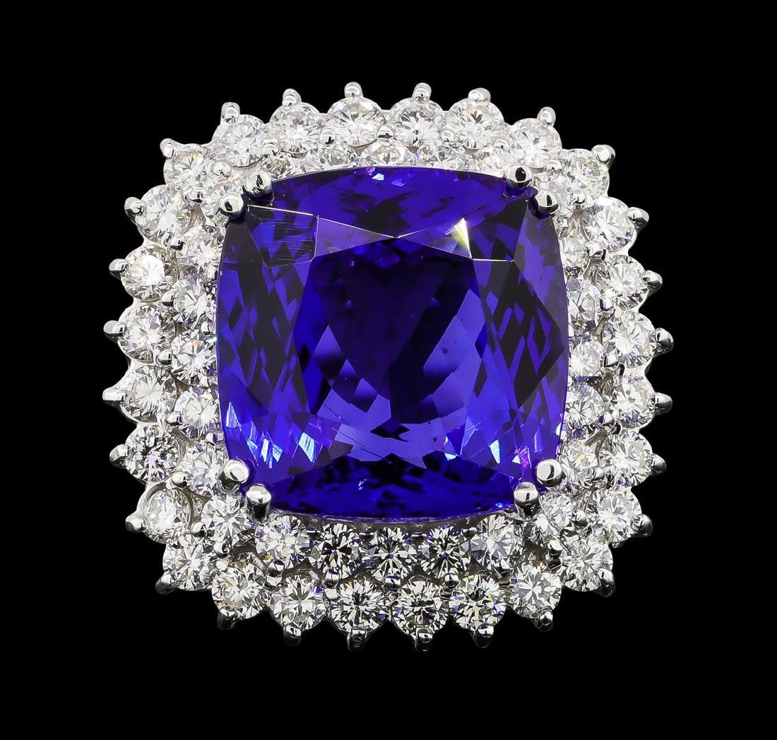 GIA Cert 16.92 ctw Tanzanite and Diamond Ring - 14KT - 2