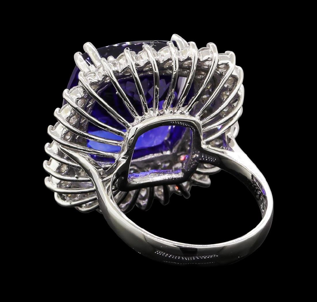 GIA Cert 16.92 ctw Tanzanite and Diamond Ring - 14KT - 3