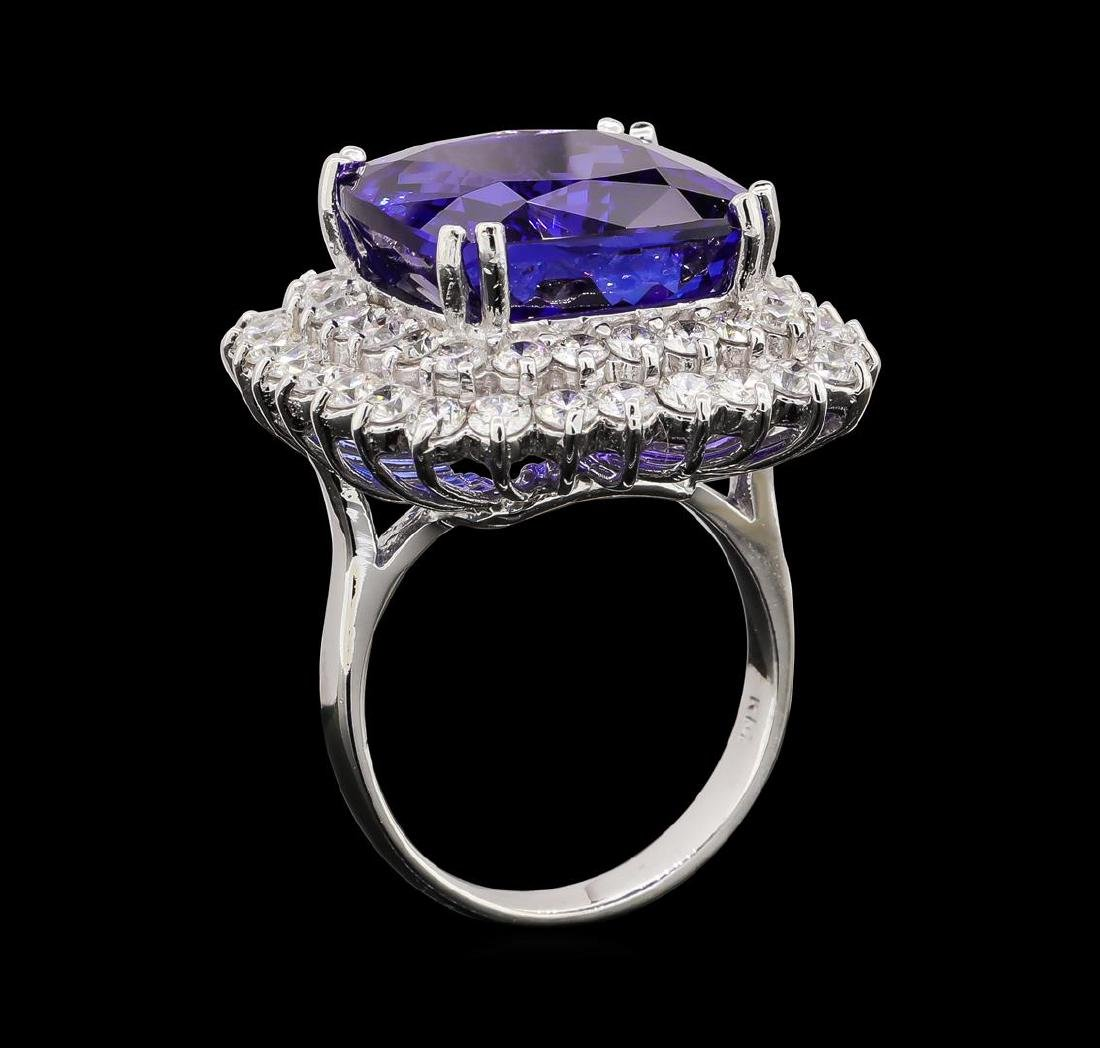 GIA Cert 16.92 ctw Tanzanite and Diamond Ring - 14KT - 4