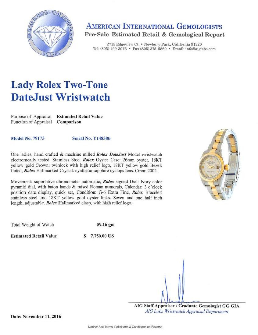 Rolex Two-Tone DateJust Ladies Watch - 5