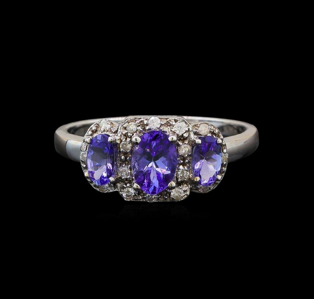 14KT White Gold 0.99 ctw Tanzanite and Tanzanite Ring - 2