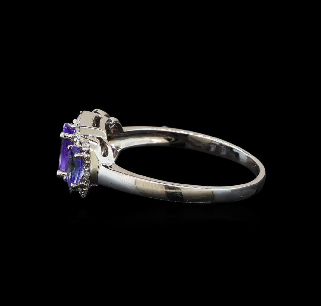 14KT White Gold 0.99 ctw Tanzanite and Tanzanite Ring - 3