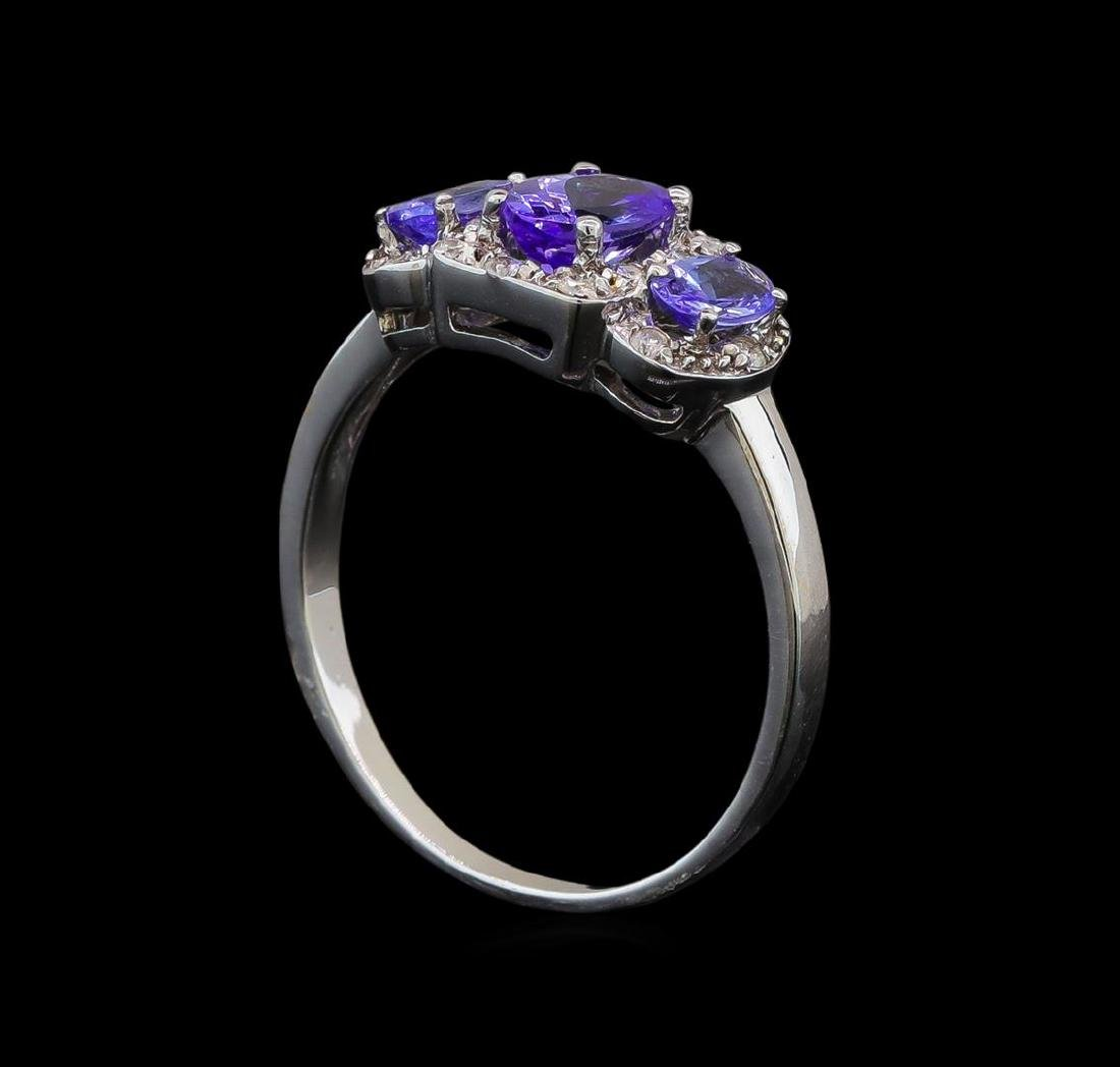 14KT White Gold 0.99 ctw Tanzanite and Tanzanite Ring - 4