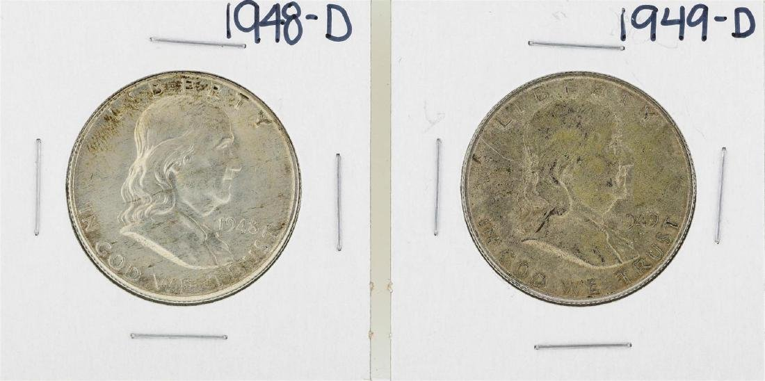 Lot of 1948-D to 1949-D Franklin Half Dollar Silver