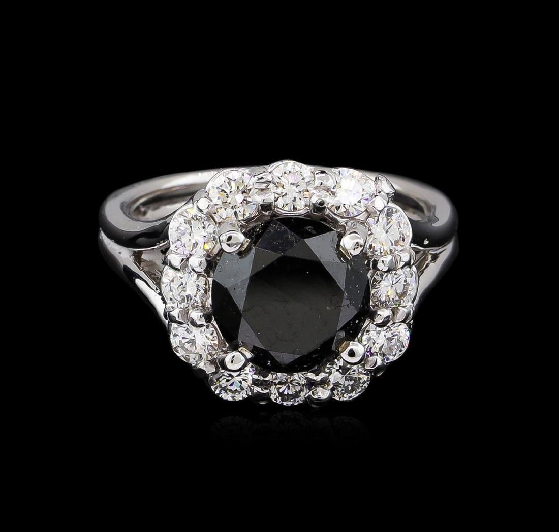 4.25 ctw Black Diamond Ring - 14KT White Gold - 2