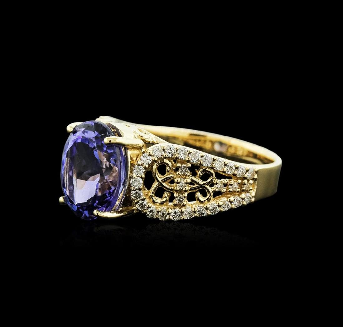 14KT Yellow Gold 4.98 ctw Tanzanite and Diamond Ring - 2